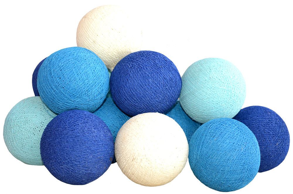 cotton ball light chain in blue light blue turkise and white. Black Bedroom Furniture Sets. Home Design Ideas